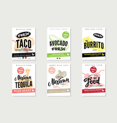 Sketch mexican food posters vector