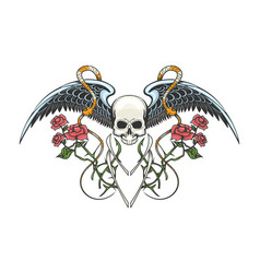 skull with wings snakes and rose branches tattoo vector image