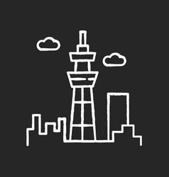 skyscraper chalk white icon on black background vector image