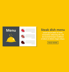 steak dish menu banner horizontal concept vector image