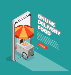 Street food delivery concept vector