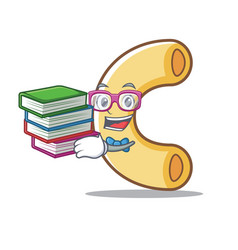 Student with book macaroni mascot cartoon style vector
