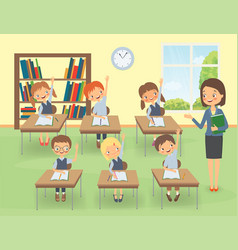 Teacher with pupils in a classroom at a lesson vector