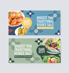 Thai food voucher design with boiled vegetable vector