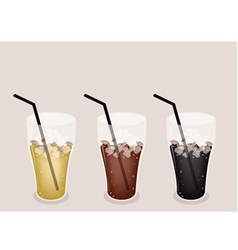 Three Kind of Iced Coffee on Brown Background vector image