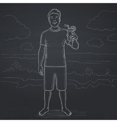 Tourist with cocktail on the beach vector image