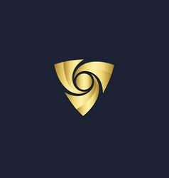 triangle circle shape abstract gold logo vector image