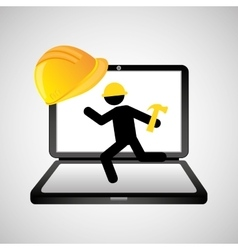 under construction web page worker hammer vector image