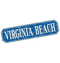 Virginia Beach blue square grunge retro style sign vector