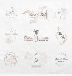 wedding monogram collection invitation cards vector image
