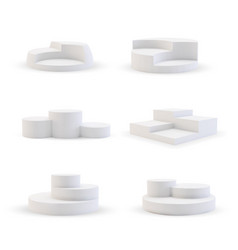 White podium stand stage isolated set on back vector