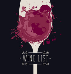 Wine list with glass of wine spots and splashes vector