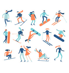 winter sport people sportsman on snowboard skis vector image