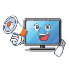 with megaphone lcd tv cartoon in living room vector image