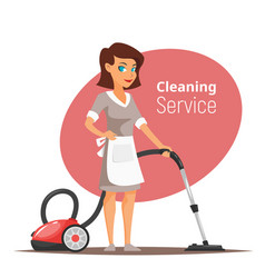 woman character vacuuming the floor vector image