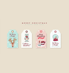 christmas and new year cute cartoon label set vector image
