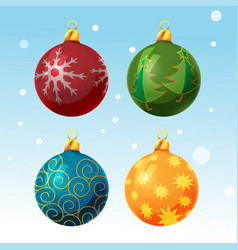 colorful christmas ball set isolated vector image