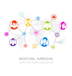 colorful people silhouette social media profile vector image vector image