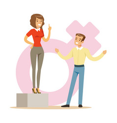 confident woman standing on the podium giving a vector image