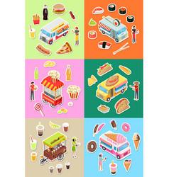set of street fast food eatery on wheels vector image