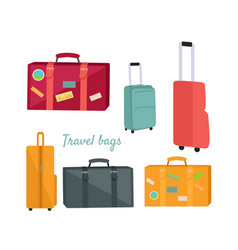 Set of travel suitcases and bags vector