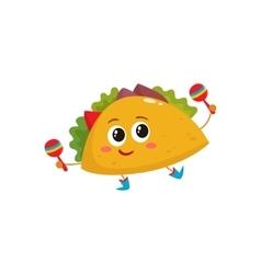 Smiling big eyed burrito dancing and playing vector image vector image