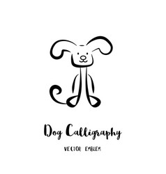 dog calligraphy emblem vector image vector image