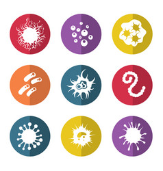 immune bacteries and infection microbes icons vector image