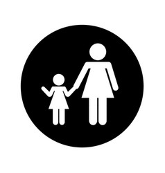 Mother with daughter silhouette isolated icon vector