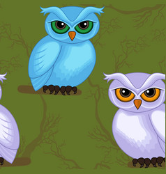 seamless artwork pattern with cartoon owls vector image