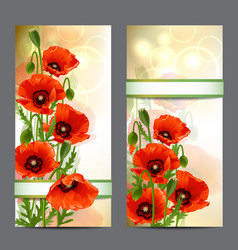Set of summer banners with Red Poppies vector image
