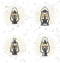 set of vintage kerosene lamp on white background vector image