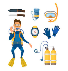 spearfishing diving equipment set vector image