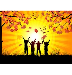 autumn and childrens vector image vector image