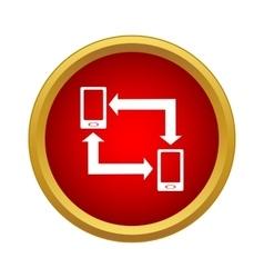 Exchange of data between two phones icon vector