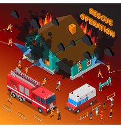 Fireman isometric template vector