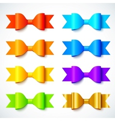 Rainbow colors bright paper bows set vector image