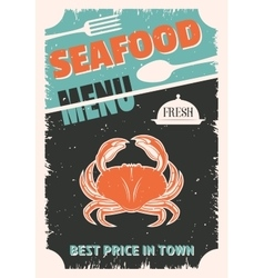 Seafood Retro Style Poster vector image vector image