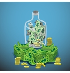 Bank of the glass to hold money and a dollar coin vector