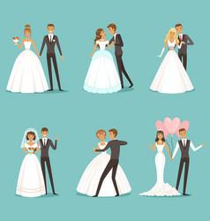beautiful wedding couple characters bride and vector image