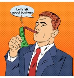 Businessman Lighting Cigar with Dollar Bill vector image vector image