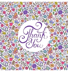 floral thank you card vector image