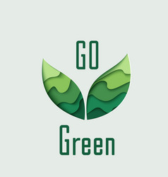 go green paper cut leaves vector image