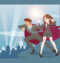 man and women superhero with sunlight vector image vector image