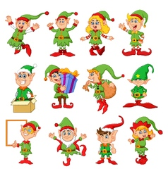 many elfs cartoon vector image