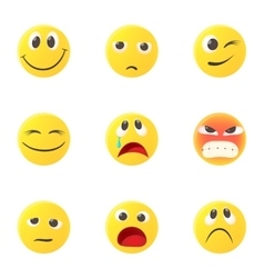Round smileys icons set cartoon style vector image
