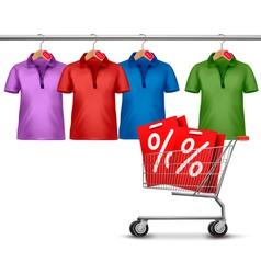 Shirts hanging on a bar and a shopping cart vector image vector image