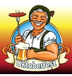 Smiling bavarian man with beer and smoking sausage vector