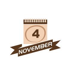4 november calendar with ribbon vector