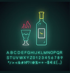 Absinthe neon light icon bottle and tall footed vector
